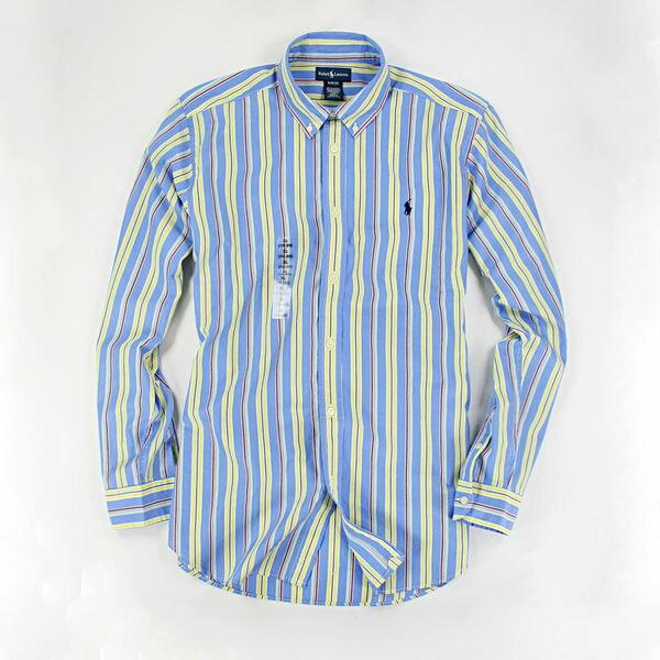 美國百分百【全新真品】Ralph Lauren RL 春夏新款 男 條紋 配色 氣質 長袖 襯衫 水藍 S號 現貨
