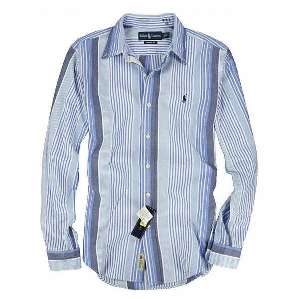 美國百分百【全新真品】Ralph Lauren RL Polo 韓風 漸層藍 條紋 窄版 顯瘦 長袖襯衫 S M XXL號