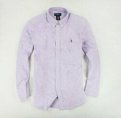 美國百分百【全新真品】Ralph Lauren 上衣 Polo Oxford 牛津布 長袖 襯衫 紫色 XS S號 RL 男衣 B016