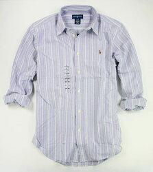 美國百分百【全新真品】Ralph Lauren RL 牛津布 條紋 長袖 襯衫 彩馬 淡紫 人氣款 XS 號 POLO a