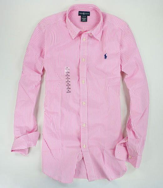 美國百分百【全新真品】Ralph Lauren RL 春季 亮粉紅 條紋 長袖 襯衫 小馬 紳士 男衣 S號 Polo a