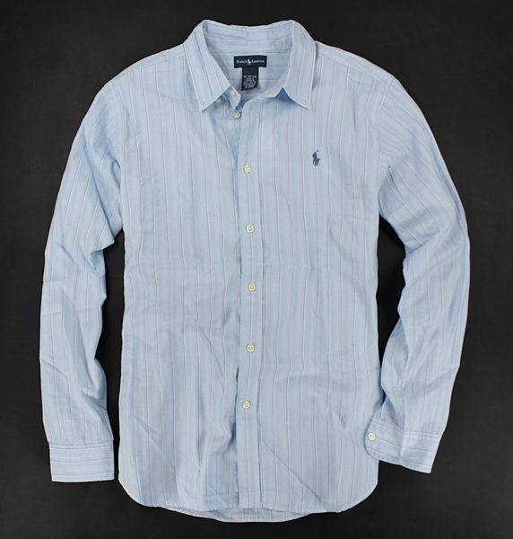 美國百分百【全新真品】Ralph Lauren 紳士型男 淡水藍 條紋 polo 長袖 襯衫 上衣 S號 免運 RL