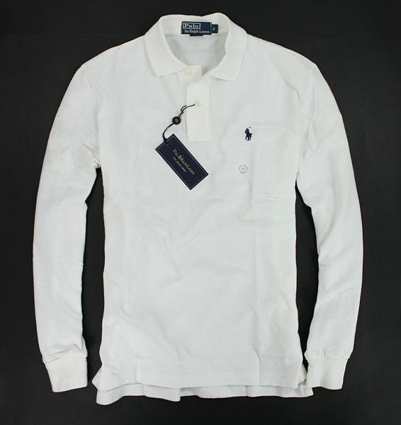 美國百分百【全新真品】Ralph Lauren RL 素面 小藍馬 長袖 網眼 POLO衫 經典 白色 M L號