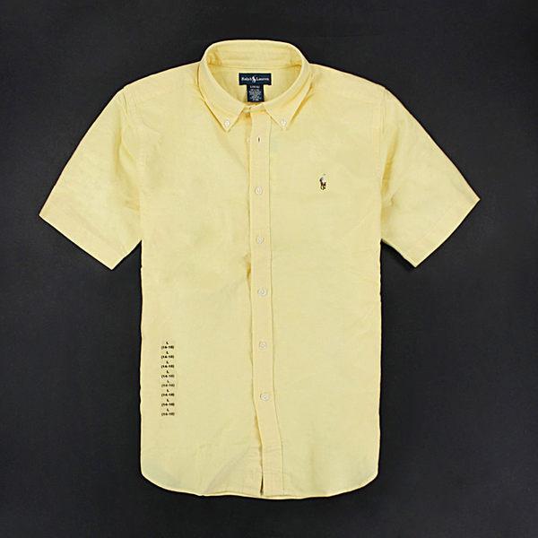 美國百分百【全新真品】Ralph Lauren Polo 牛津布 質感 男 短袖 襯衫 素面 黃色 XS S號 RL Top y