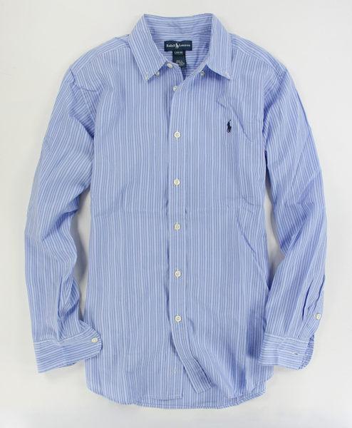 美國百分百【全新真品】Ralph Lauren RL 條紋襯衫 男襯衫 長袖 上衣 淡藍色 XS 號 POLO a