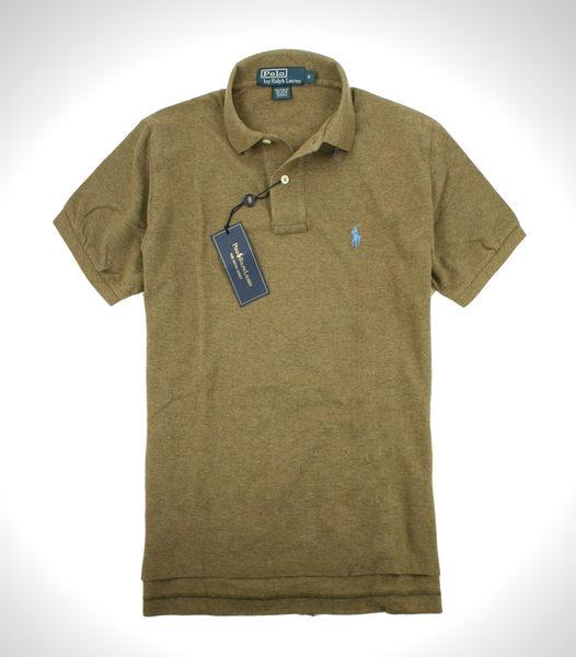 <br/><br/>  美國百分百【全新真品】Ralph Lauren 男 網眼 素面 Polo衫 短袖 棕色 水藍馬 RL Polo 免運 S號<br/><br/>