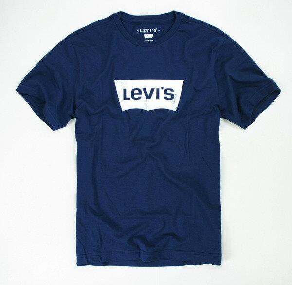 美國百分百【全新真品】levis冠希木村經典logo刷色T恤t-shirt潮流T深藍SM號超取