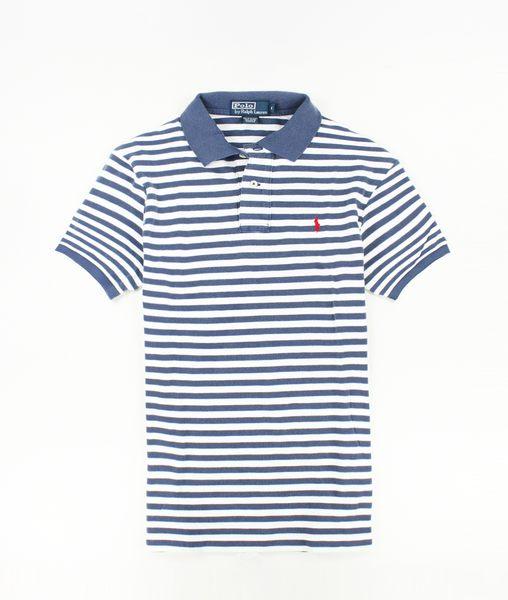 美國百分百【全新真品】Ralph Lauren RL 男 Polo衫 深藍 條紋 紅馬 上衣 外衣 網眼 貨付 M號