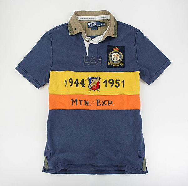 <br/><br/> 美國百分百【全新真品】Ralph Lauren RL 探險人 高質感 貼布圖案 特色 復古款 polo衫 藍色 M號 C252<br/><br/>