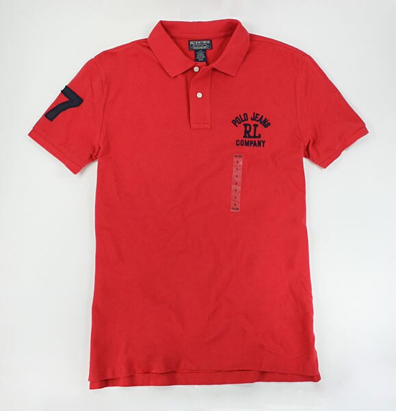 美國百分百【全新真品】Ralph Lauren RL 復古 數字 貼布 文字 男衣 短袖 網眼 polo衫 橘紅色 L號
