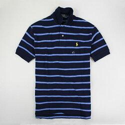 美國百分百【全新真品】Ralph Lauren RL 專櫃 夏季 新色 深藍 條紋 短袖 Polo衫 黃馬 M XL 超取