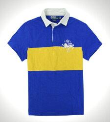 美國百分百【全新真品】Ralph Lauren RL 男 Polo衫 黃藍 條紋 圖案 Logo 旗幟 皇家 特別 免運 XS號