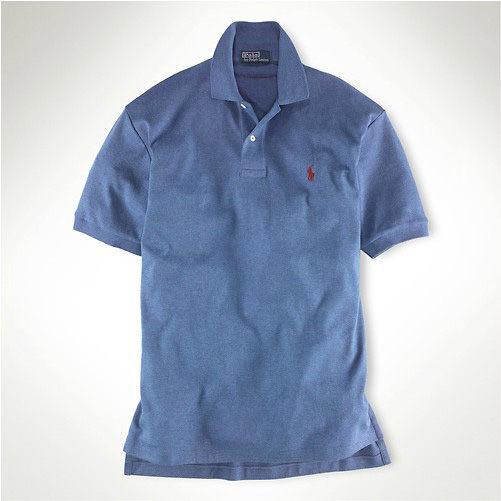 美國百分百【全新真品】Ralph Lauren RL 男款 短袖 上衣 polo衫 復古藍 網眼 暖色系 超取