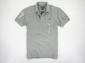 美國百分百【全新真品】Ralph Lauren RL 男 短polo衫 刷破 復古 懷舊 67 徽章 灰色 L號 超取
