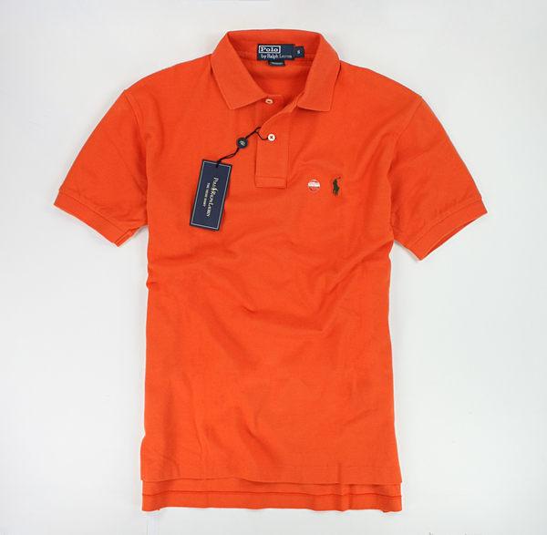 美國百分百【全新真品】Ralph Lauren 春新色 男 短袖 Polo衫 素面 網眼 小馬 亮橘色 S M號 RL