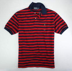 美國百分百【全新真品】Ralph Lauren RL 男款 條紋 POLO衫 紅色 深藍 短袖 上衣 S號 超取