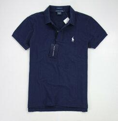 美國百分百【全新真品】Ralph Lauren 女生 POLO衫 短袖 純棉網眼 上衣 深藍 RL 馬 超取