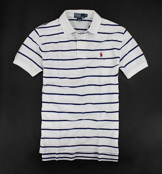 美國百分百【全新真品】Ralph Lauren RL 深藍 條紋 短袖 網眼 polo衫 白色 紅馬 XL號