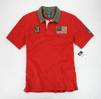 美國百分百【全新真品】Ralph Lauren RL 男生 復古 士兵領 貼布 圖案 短袖 Polo衫 橘紅色 S號