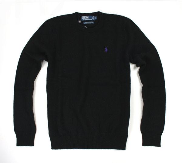 美國百分百~ ~Ralph Lauren RL 男款 圓領 羊毛針織衫 毛衣 黑色 上衣
