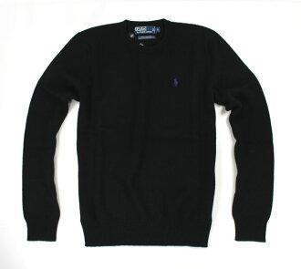 美國百分百【全新真品】Ralph Lauren RL 男款 圓領 羊毛針織衫 毛衣 黑色 上衣 POLO 超取 XL號