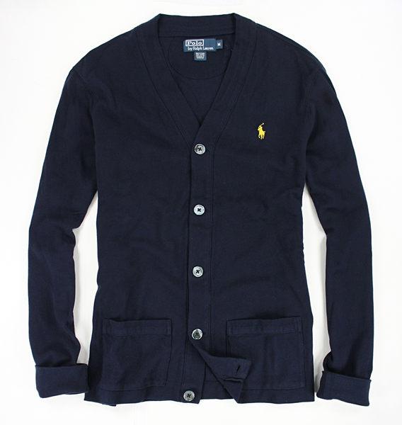 美國百分百【全新真品】Ralph Lauren RL 男 開扣 外套 口袋 針織 罩衫 POLO 深藍 S M號 C081