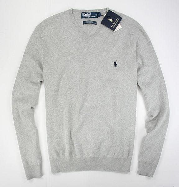 美國百分百【全新真品】Ralph Lauren 針織上衣 RL 男款 V領 純棉 polo 針織衫 棉質 毛衣 淡灰 XL號 B024