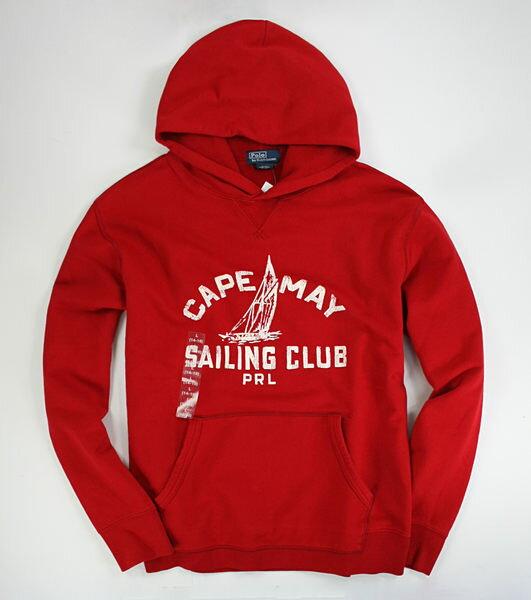 美國百分百【全新真品】Ralph Lauren RL 刷色 圖案 紅色 連帽長T 帽T 外搭 厚毛 棉質 XS號 y a