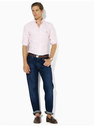 美國百分百【全新真品】Ralph Lauren RL POLO 刷白刷紋 深藍 牛仔褲 直筒長褲 休閒褲 33 34腰