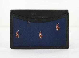美國百分百【全新真品】Ralph Lauren Polo 男 女 RL 藍 彩馬 logo 皮夾 證件 名片夾 卡夾 真皮邊