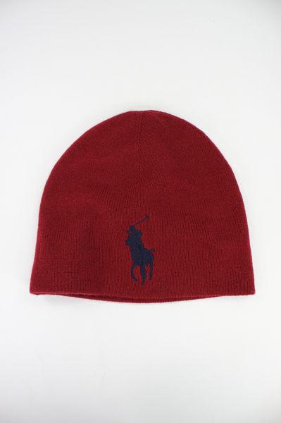 美國百分百【全新真品】Ralph Lauren 大馬 編織 舒適 美麗諾 羊毛帽 毛帽 毛線帽 RL 黑 暗紅