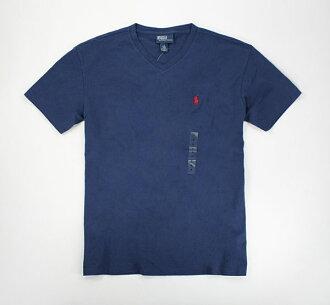 美國百分百【全新真品】Ralph Lauren RL 男款 POLO 素T 紅馬 logo V領 短T恤 T-shirt 復古藍 S M號