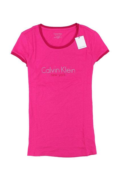 美國百分百【全新真品】Calvin Klein CK 女生 短袖 T恤 圓領 T-shirt 桃紅色 上衣 XS S M號 鑲鑽