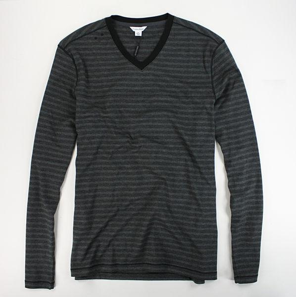 美國百分百【全新真品】Calvin Klein CK 男款 條紋 長袖 T恤 V領 薄長T 灰色 簡約 百搭 S號