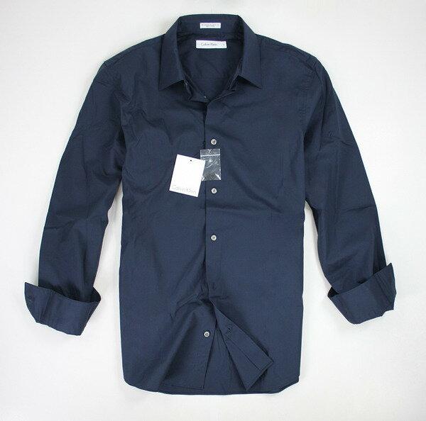 美國百分百【全新真品】Calvin Klein CK 商務 上班 滑面 質感 深青藍 男 長袖襯衫 XS S L XL 大SIZE