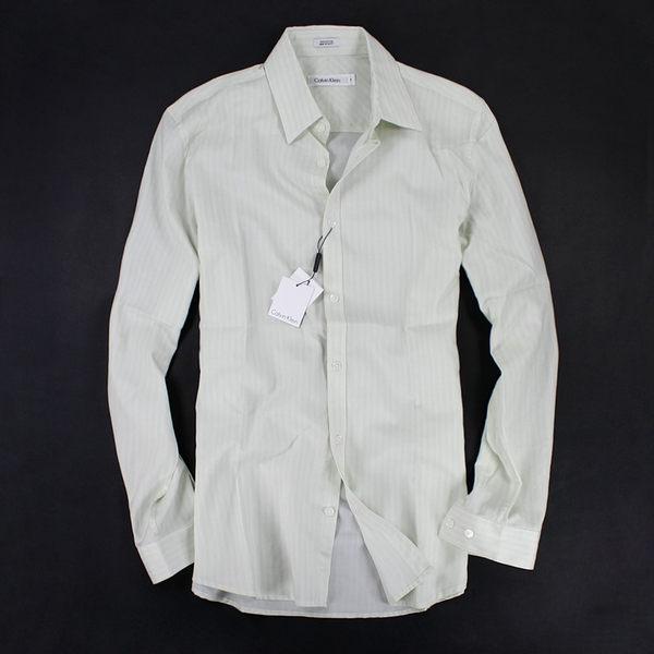美國百分百【全新真品】Calvin Klein 今夏流行 淺色系 黃綠 緞面 嫘縈 條紋襯衫 M XL號 CK