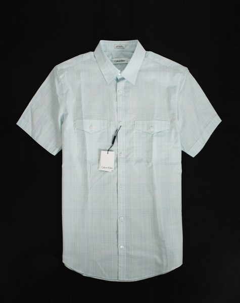 美國百分百【全新真品】Calvin Klein CK 男 上衣 大尺碼 短袖 襯衫 修身 藍白格紋 S XXL號