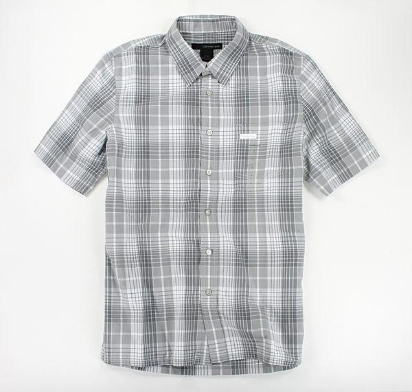美國百分百【全新真品】Calvin Klein Jeans CK 型男 格紋 短袖 襯衫 休閒渡假風 灰色 綠色 S號