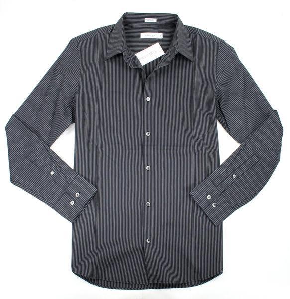 美國百分百【全新真品】Calvin Klein CK 上班 工作 商務 基本款 條紋 男 長袖 黑襯衫 S號 超取