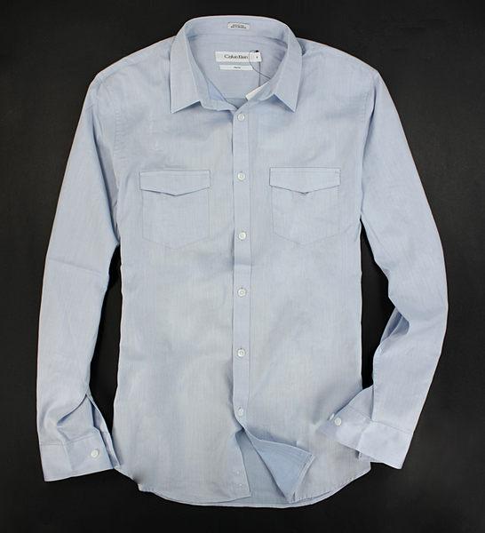 美國百分百【全新真品】Calvin Klein CK 高質感 棉質 長袖 襯衫 雙口袋 細條紋 天空藍 窄版M號