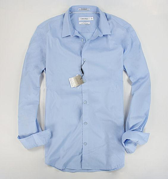美國百分百【全新真品】Calvin Klein CK 男 素面 藍色 長袖 質感 襯衫 上衣 XS S號