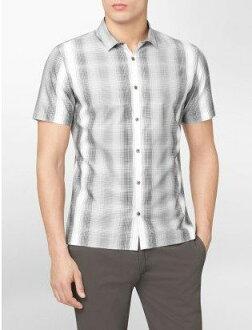美國百分百【全新真品】Calvin Klein CK 春夏 渡假風 格紋 輕薄 短袖 襯衫 黑白 XXL號 超取