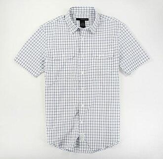美國百分百【全新真品】Calvin Klein Jeans CK 型男 短袖 襯衫 白色 灰格紋 簡約百搭款 S號