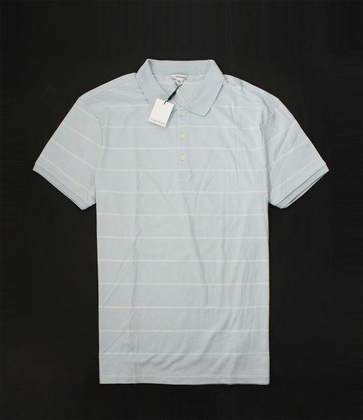 美國百分百【全新真品】Calvin Klein CK 男 水藍 白 條紋 短袖 Polo 上衣 彈性 紳士 貨付 XL號