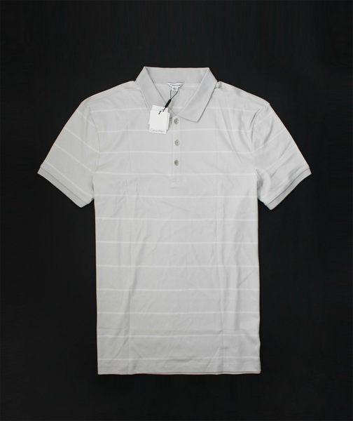 美國百分百【全新真品】Calvin Klein CK 男 灰 白 條紋 短袖 Polo衫 上衣 彈性 紳士 超取 XL號