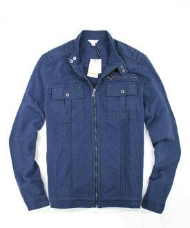 美國百分百【全新真品】Calvin Klein 型男 特色 拉鍊夾克 立領外套 寶藍色 M號 CK 免運 超取