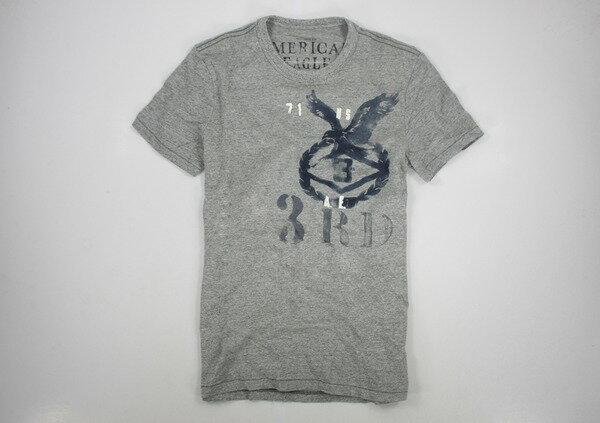 美國百分百【全新真品】American Eagle AE 老鷹 男 刷色 印花 棉T 灰 潮流 短T恤 T-shirt XS號