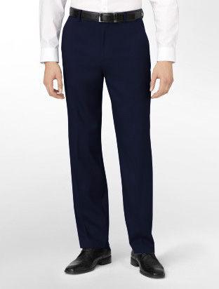 美國百分百【Calvin Klein】專櫃款CK 紳士 高質感 西裝褲 直筒褲 深藍格紋 合身30 33腰 超取