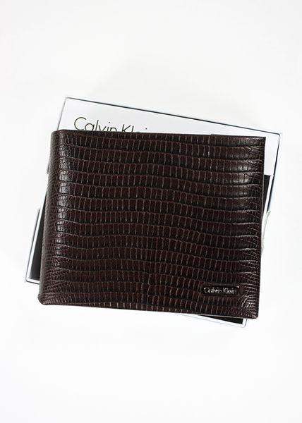 美國百分百【全新真品】Calvin Klein CK 新款 鱷魚紋 真皮質感 男皮夾 短夾 照片夾 深紅棕 B361