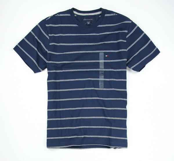 美國百分百【全新真品】Tommy Hilfiger TH 雙條紋 T恤 深藍 棉T 男 休閒 圓領 上衣 XS號